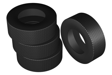 replacing: Tires, isolated on white background. 3D rendering. Stock Photo