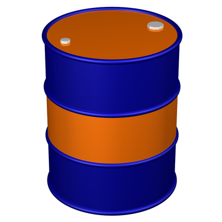 brent crude: Colored barrel, isolated on white background. 3D rendering. Stock Photo