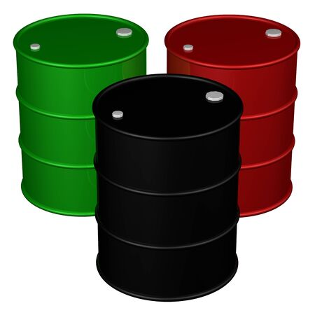 brent crude: Three barrels, isolated on white background.  3D rendering. Stock Photo