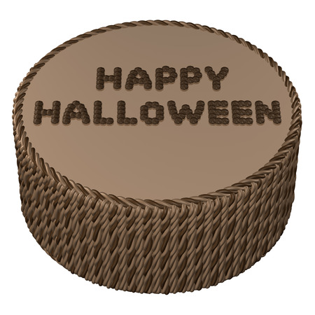 cream cake: Round chocolate cream cake with words happy halloween , isolated on white background.  3D rendering.