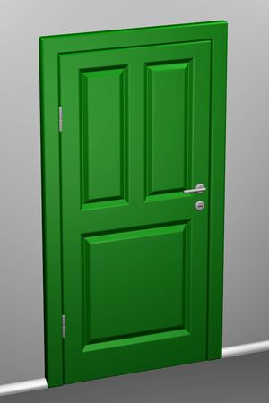 entrance hall: Closed green door in a corridor. 3D rendering.