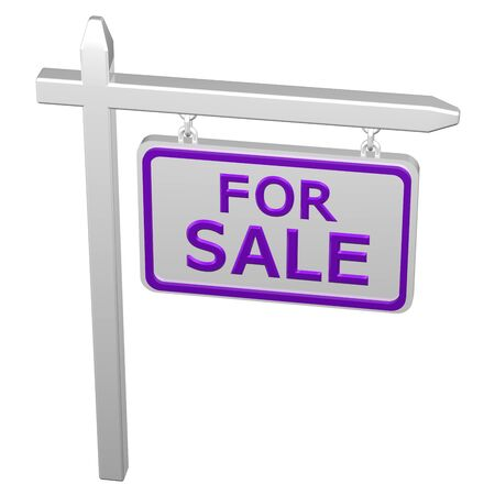 commercial activity: Pillar with sign for sale, isolated on white background. 3D rendering.