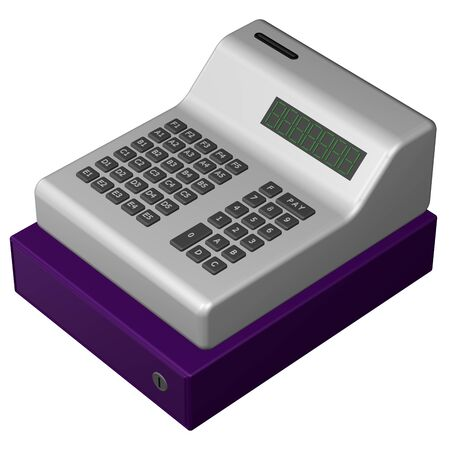 commercial activity: Old POS system, isolated on white background. 3D rendering.