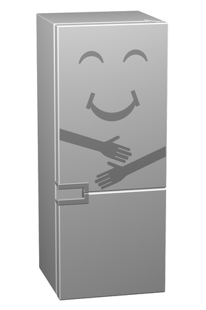 White smiling refrigerator, isolated on white background. 3D rendering.