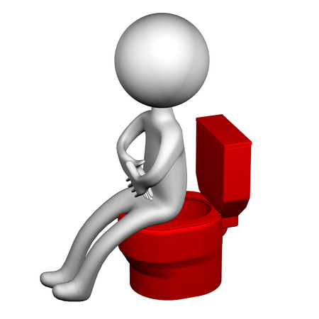 laxative: 3d Man on the toilet seat, isolated on white background. 3D rendering.