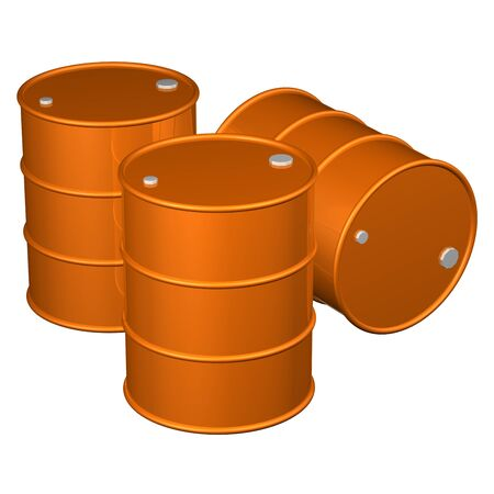 bbl: Three orange barrels, isolated on white background. 3D rendering.
