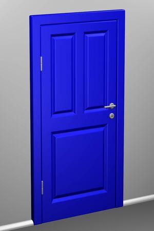 entrance hall: Closed blue door in a corridor. 3D rendering. Stock Photo