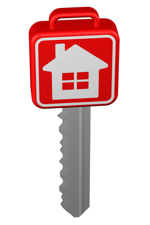 home ownership: Key with sign home, isolated on white background. 3D rendering.