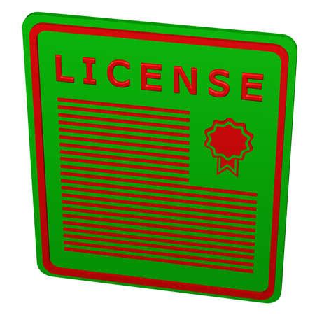 licensing: Concept: license, isolated on white background. 3D rendering.