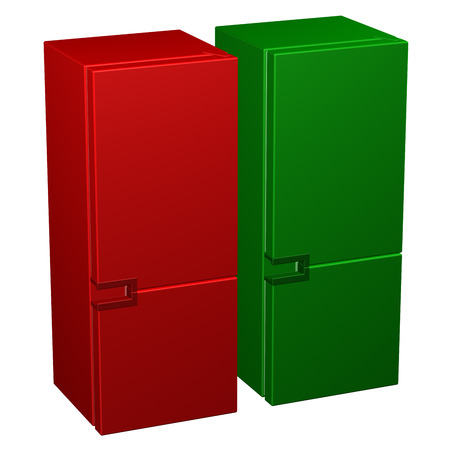 frig: Two refrigerators: red and green, isolated on white background. 3D rendering.