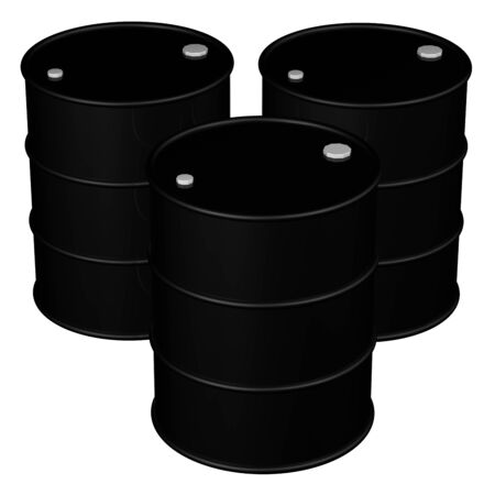brent crude: Black barrels, isolated on white background. 3D rendering.