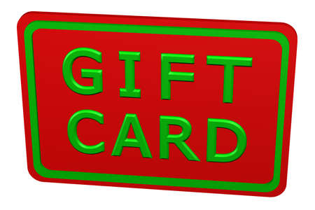 commercial activity: Gift card, isolated on white background. 3D rendering.