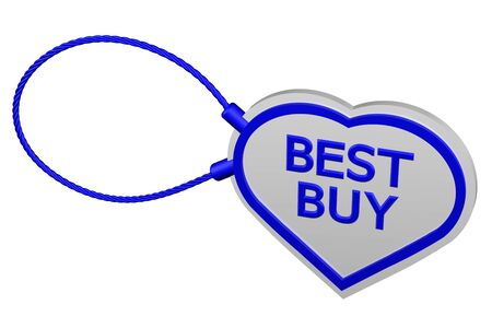best buy: Heart tag best buy, isolated on white background. 3D rendering. Stock Photo