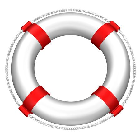 lifebuoy: Lifebuoy with stripes and rope, isolated on white background. 3D rendering.