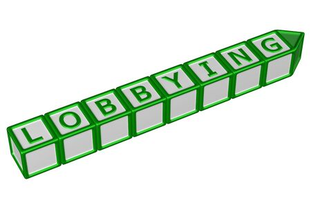 exemptions: Blocks with word lobbying, isolated on white background. 3D rendering. Stock Photo