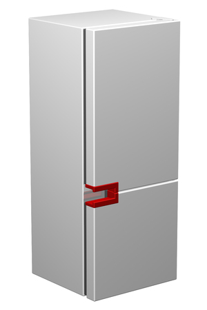icebox: White refrigerator with red handle, isolated on white background. 3D rendering.