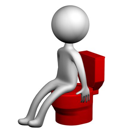 diarrhoea: 3d Man on the toilet seat, isolated on white background. 3D rendering.