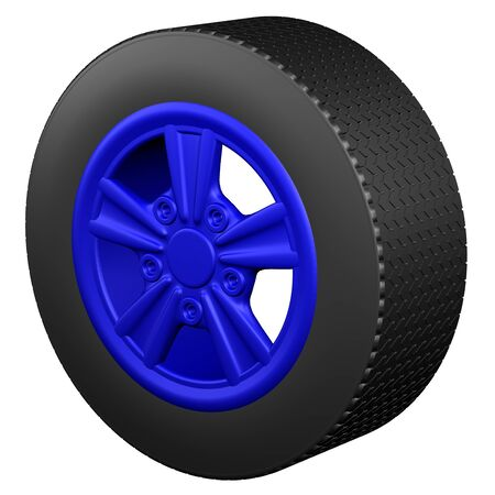 replacing: Car wheel, isolated on white background. 3D rendering.