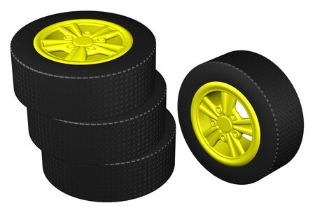 tire cover: Car wheels, isolated on white background. 3D rendering.