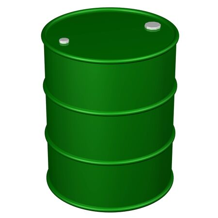 Green barrel, isolated on white background.  3D rendering.