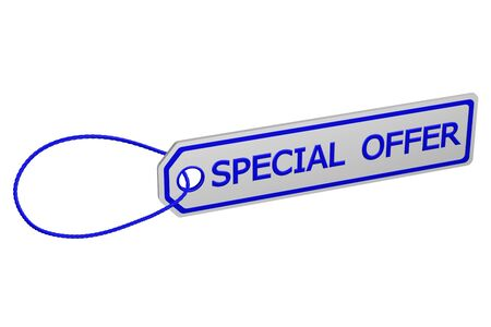 commercial activity: Special offer tag, isolated on white background. 3D rendering.