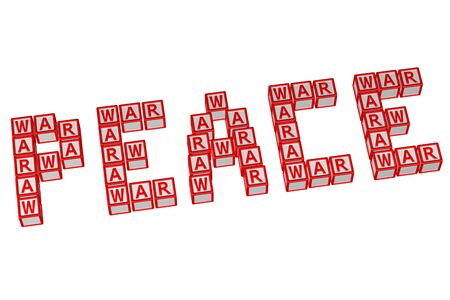 mistrust: Word Peace written with blocks with letters W,A,R, isolated on white background. 3D rendering. Stock Photo