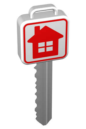 ownership: Key with sign home, isolated on white background. 3D rendering.