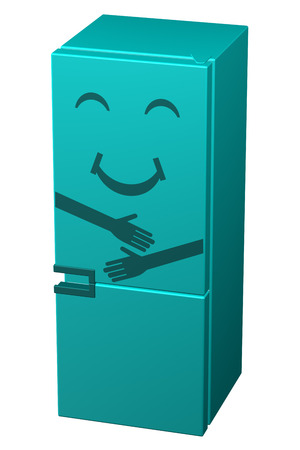 frig: Turquoise smiling refrigerator, isolated on white background. 3D rendering.