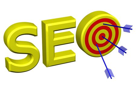 indexing: Concept: word SEO with target for arrows, isolated on white background. 3D rendering.