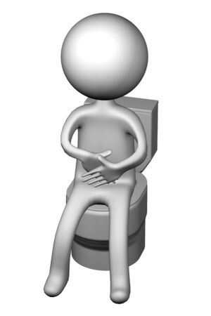 spoilage: 3d Man on the toilet seat, isolated on white background. 3D rendering.