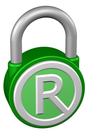trademark: Concept: padlock with sign trademark. Isolated on white background. 3D rendering. Stock Photo