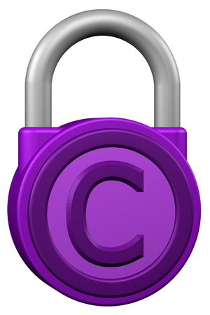 commercial law: Concept: padlock with sign copyright. Isolated on white background. 3D rendering.