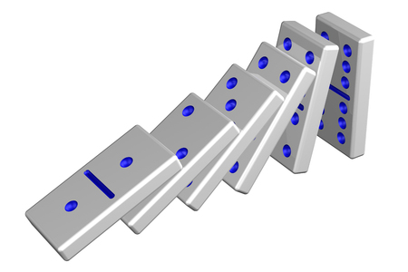 Concept: domino effect, isolated on white background. 3D rendering.
