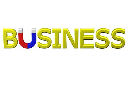 mlm: Concept: word business with U shaped magnet instead letter U , isolated on white background. 3D rendering. Stock Photo