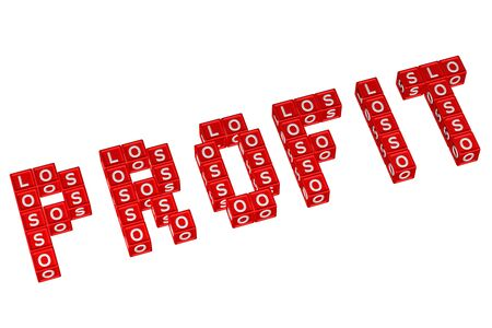 creating wealth: Word Profit written with blocks with letters L,O,S, isolated on white background. 3D rendering. Stock Photo