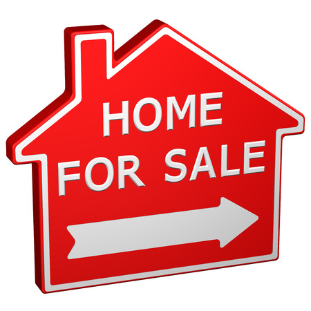 commercial activity: Home for sale sign, isolated on white background. 3D rendering.