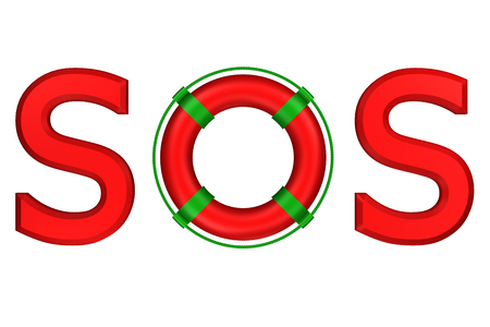 mayday: Concept: word SOS with lifebuoy, isolated on white background. 3D rendering.