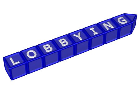 persuasion: Blocks with word lobbying, isolated on white background. 3D rendering. Stock Photo