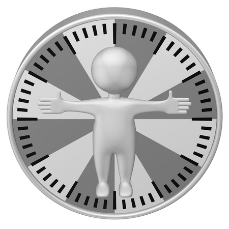 minimum wage: Concept: man-hour. 3d Man and clock face. Isolated on white background. 3D rendering.