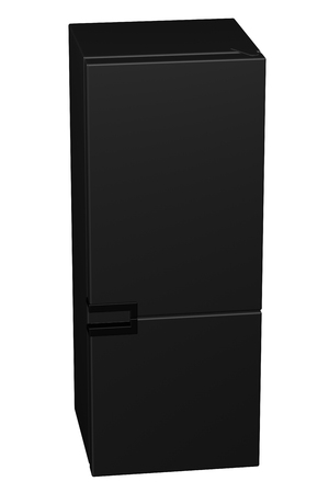 household objects equipment: Black refrigerator, isolated on white background. 3D rendering. Stock Photo
