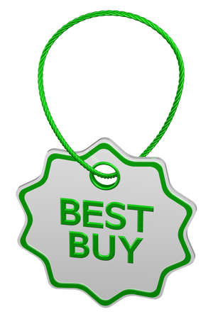 proposition: Best buy tag, isolated on white background. 3D rendering. Stock Photo