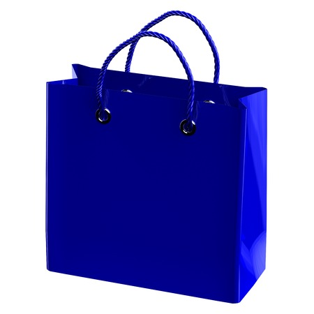 commercial activity: Blue shopping bag, isolated on white background. 3D rendering. Stock Photo