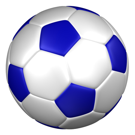 blue ball: Soccer ball, isolated on white background. 3D rendering. Stock Photo