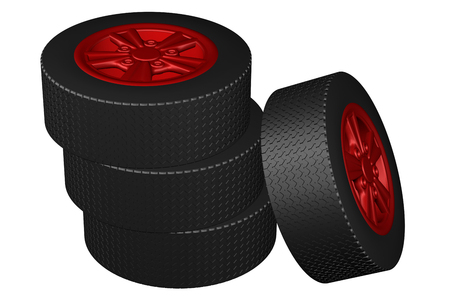 replacing: Car wheels, isolated on white background. 3D rendering.
