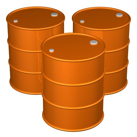 brent crude: Orange barrels, isolated on white background. 3D rendering.