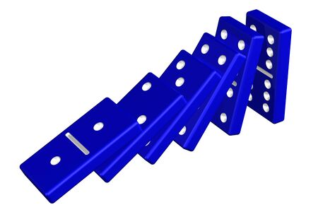 equipoise: Concept: domino effect, isolated on white background. 3D rendering.
