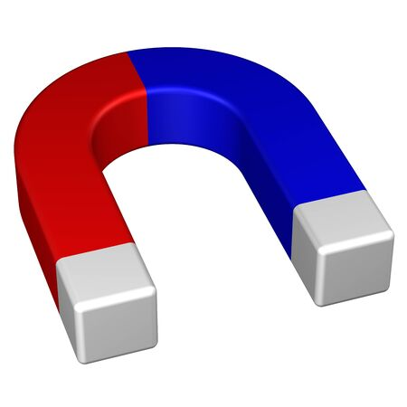 polarized: Horseshoe permanent magnet, isolated on white background. 3D rendering.