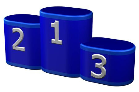 winners podium: Winners podium with numerals, isolated on white background. 3D rendering.