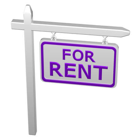 commercial activity: Pillar with sign for rent, isolated on white background. 3D rendering. Stock Photo