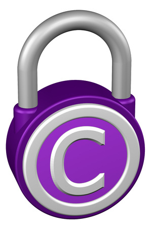 commercial activity: Concept: padlock with sign copyright. Isolated on white background. 3D rendering.